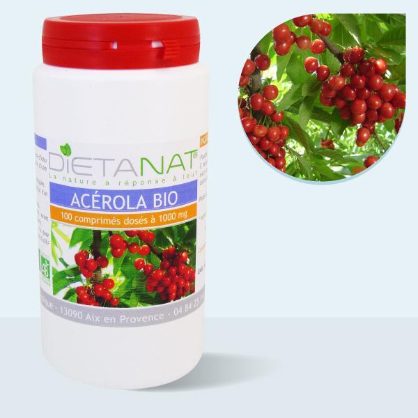 Acerola 1000 bio Vitamine C - 100 Comprimés bio 1000mg