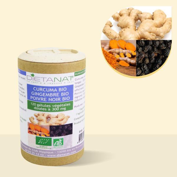Curcuma Gingembre Poivre noir bio 9.5.1 - 120 gélules végétales 300mg