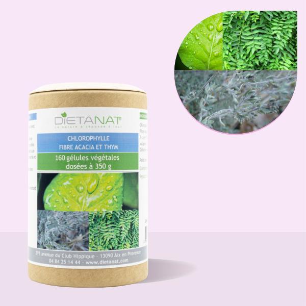 Chlorophylle Fibre d'Acacia et Thym - 160 gélules végétales
