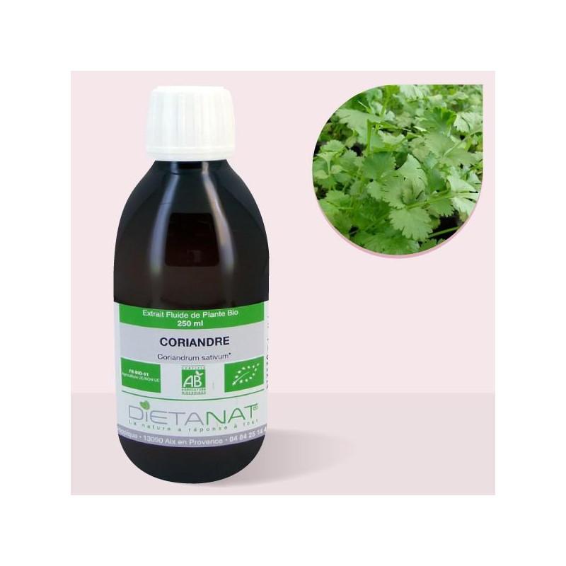 Coriandre bio - 250ml Extrait de plantes fraiches bio