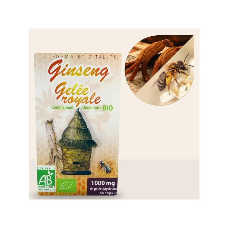 Ginseng et Gelée Royale bio - 20 Ampoules 200ml et 10ml