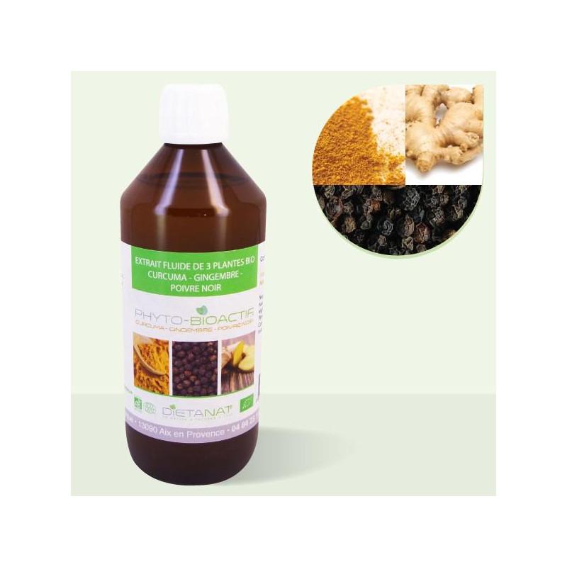 Curcuma Gingembre Poivre Noir bio - 500ml Extrait de plantes fraiches