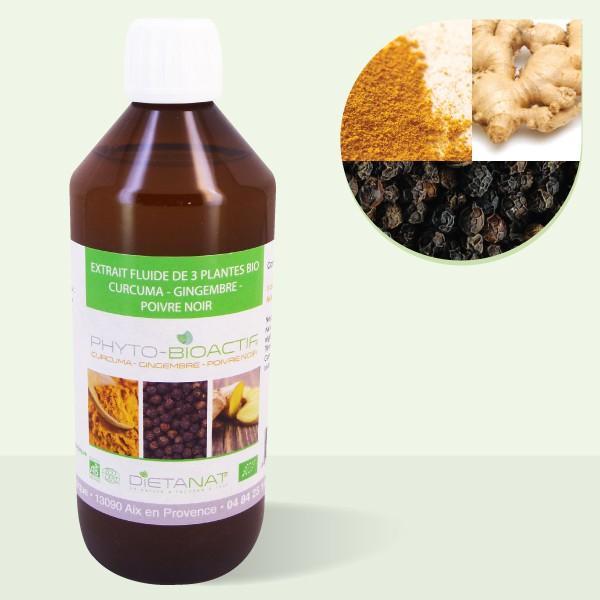 Curcuma Gingembre Poivre Noir bio 9-5-1 - 500ml Extrait de plantes fraiches