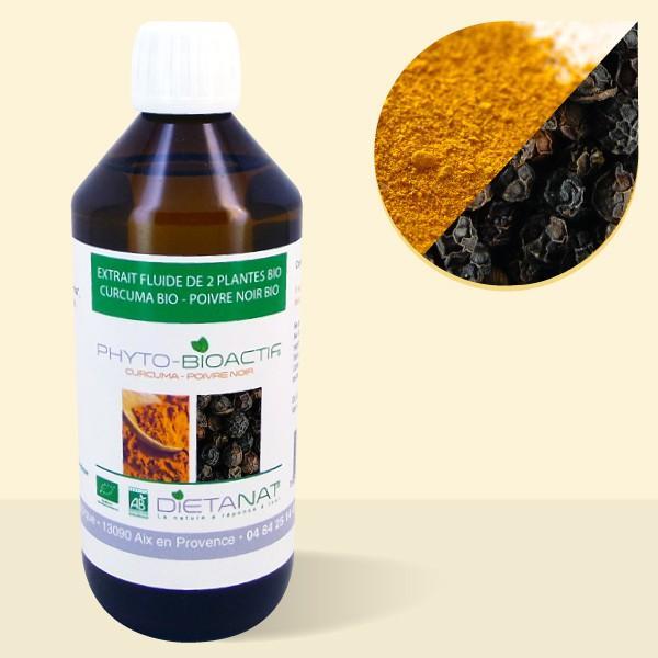 Curcuma bio et Poivre Noir bio - 500ml Extrait de plantes fraiches